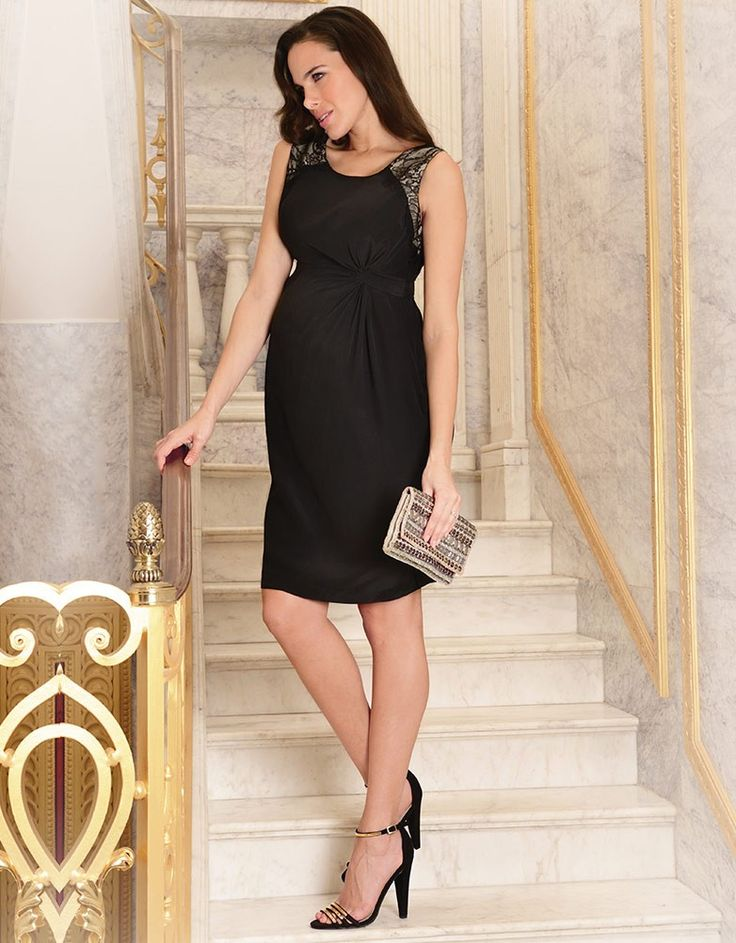 Black Textured Silk Maternity Cocktail Dress | Seraphine