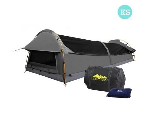 KING SINGLE CANVAS CAMPING SWAG TENT with Air Pillow  FREE SHIPPING AUS