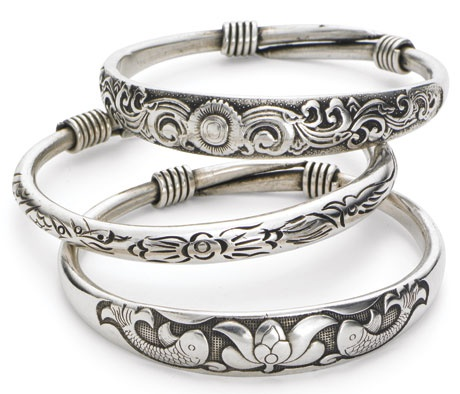 sterling a silver elephant virtual work oxidized plain jewellery shape bangles fine