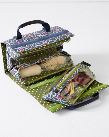 """Jayla Hanging Toiletry Bag   Size: 24"""" H x 10 1/4"""" W, unrolled. Each triangle section measures 4 1/2"""" H x 9 1/4"""" W."""