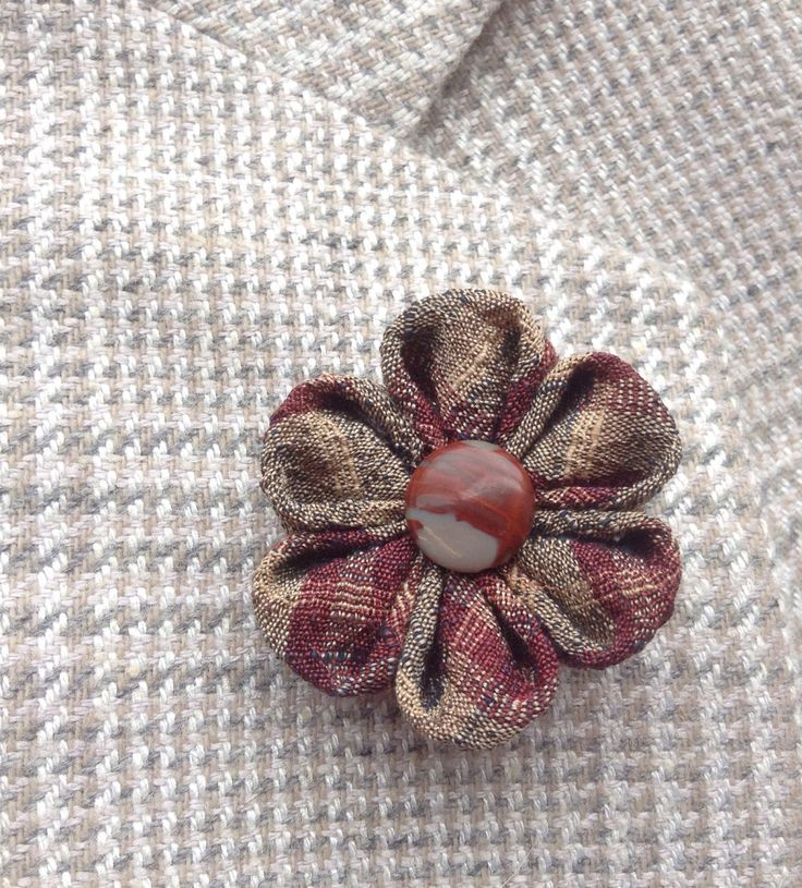 Mens Lapel Pin Flower Lapel Pin Kanzashi Pin Brown Lapel Flower Silk Boutonniere Brown Boutonniere Custom Lapel Pins Men Gifts For Him by exquisitelapel on Etsy https://www.etsy.com/listing/265860314/mens-lapel-pin-flower-lapel-pin-kanzashi