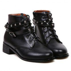 $16.77 Trendy Women's Short Boots With Black Buckle and Rivets Design
