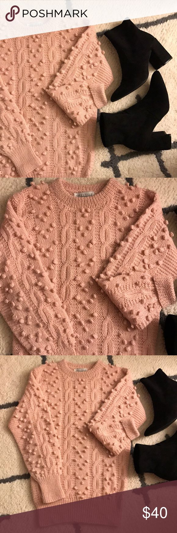 Hand knit wool Holiday sweater🎀 Lovely little pink popcorn sweater, perfect for the holidays! It's Hand knit in Peru of 100% Alpaca wool. So so Pretty 😍🎀 check the last photo for a small not very noticeable stain. Dry cleaning could fix - it I haven't dry cleaned it. Nordstrom Sweaters Crew & Scoop Necks