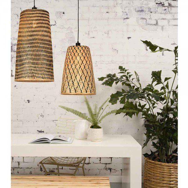 Hangelampe Kaddya Bambus Schwarz Natur Hange Lampe Lampe