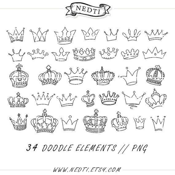 Dibujo de coronas Doodle mano dibujado Vector príncipe de por Nedti