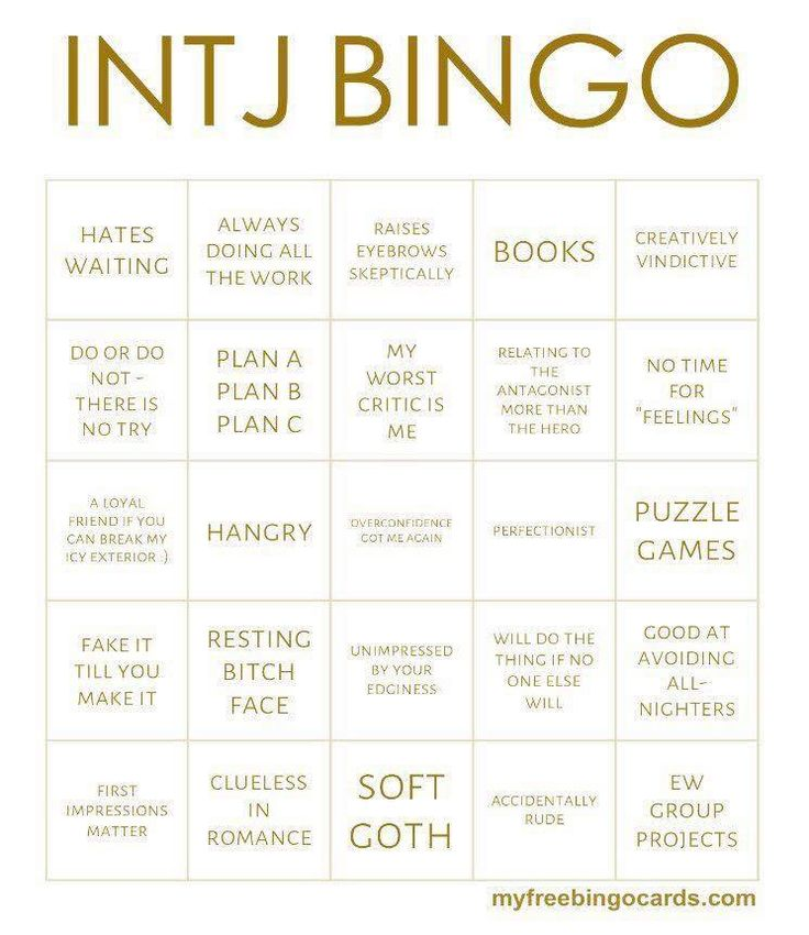 INTJ bingo. I believe we have a black out winner!