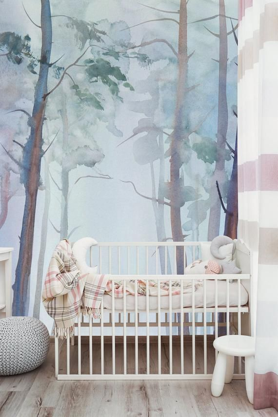 Watercolor Wallpaper Nature Forest Wall Mural Peel And Stick Trees Wallpaper Kids Room Wall Mural Baby Nursery Wallpaper Kids Room Wallpaper Forest Wall Mural Watercolor Wallpaper