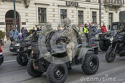 Polish army parade celebrating Polish Independence Day in Krakow on November 11 .