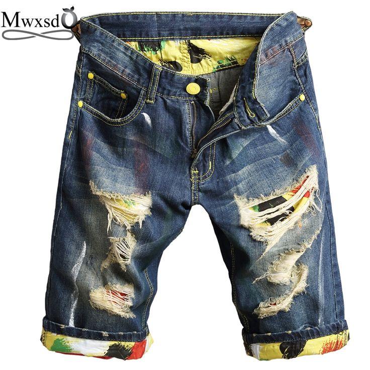 Mwxsd Brand Men ripped hole jeans Shorts slim fit summer male Denim broken Shorts Casual Knee Length Shorts Bermuda homme