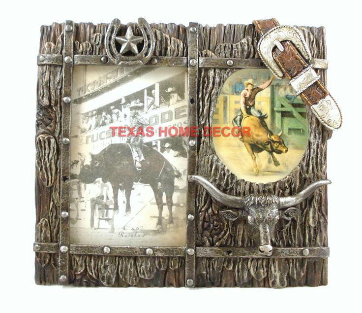 """Western Picture Frame Longhorn Star Horseshoe Belt Buckle Faux Wood Holds 4""""x6""""  #RusticPrimitive"""