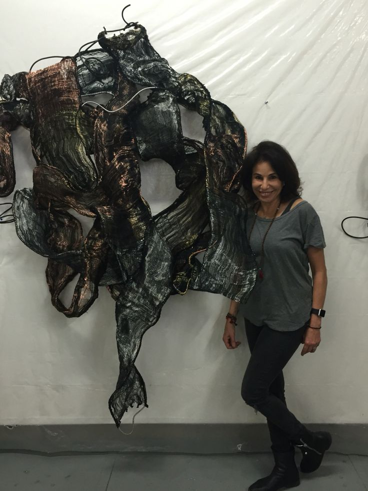 Fiber Artist, Elise Vazelakis, in front of her piece constructed from woven steel, copper, brass and fiber.