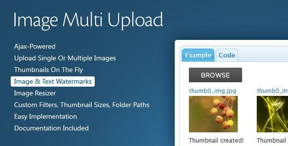 Image Multi Upload is a web page plugin with image upload features.