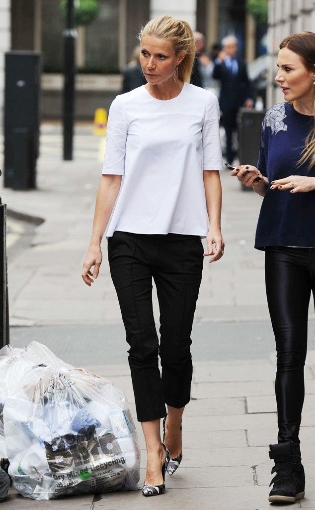 gwyneth paltrow cropped pants and heels
