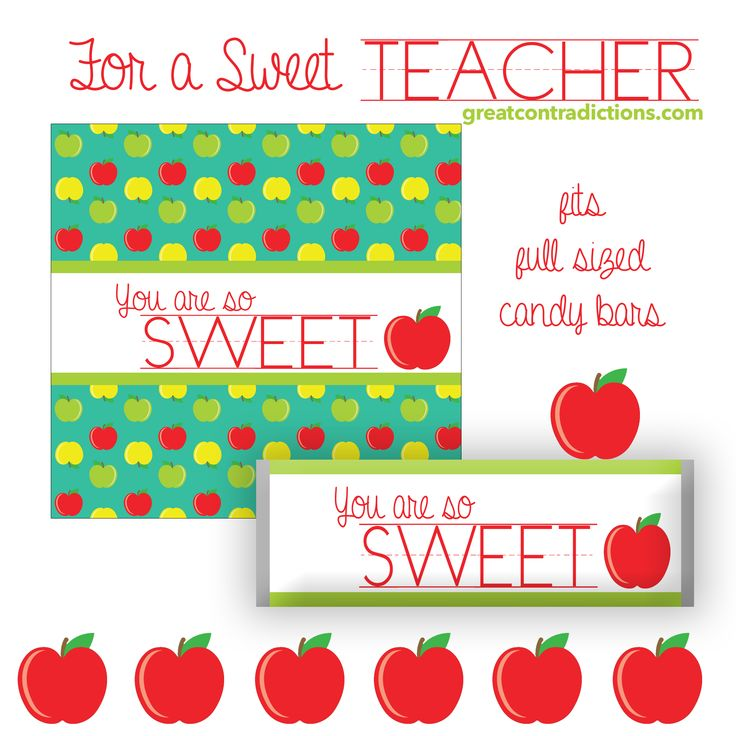 Printable Candy Bar Wrappers {Apple Theme}: inexpensive teacher gift idea