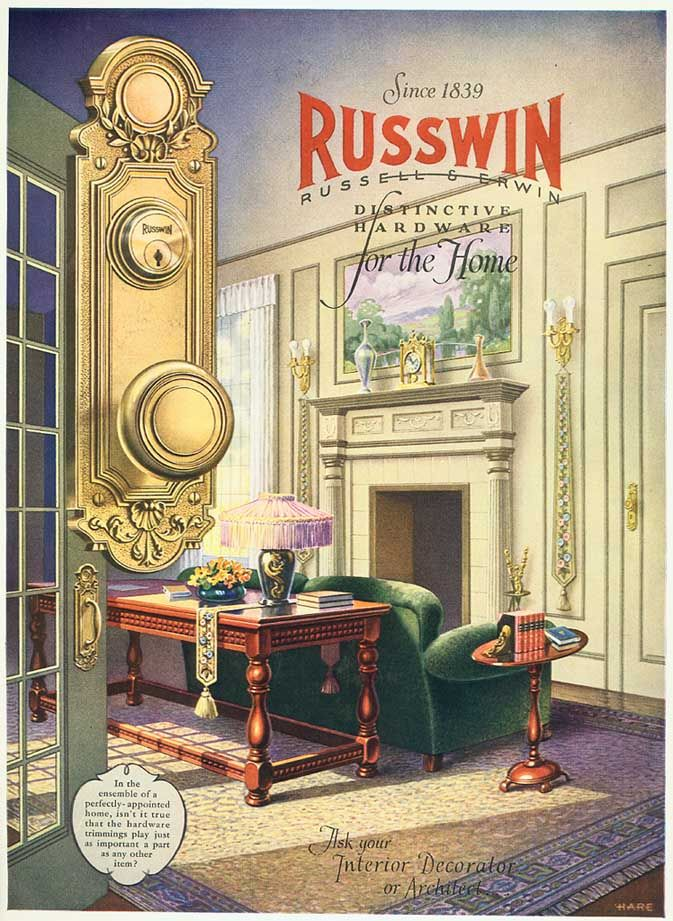 1927 Ad Russwin Russell Erwin Hardware Home Interior Design Hare Fireplace