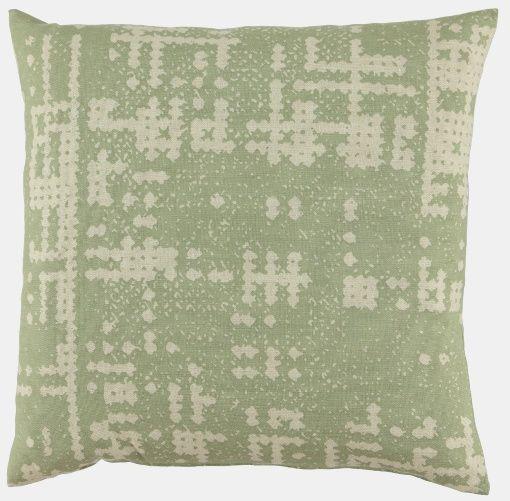 Linlook m støvet grønn abstrakt mønster - STOFF & STIL- 60kr pr meter
