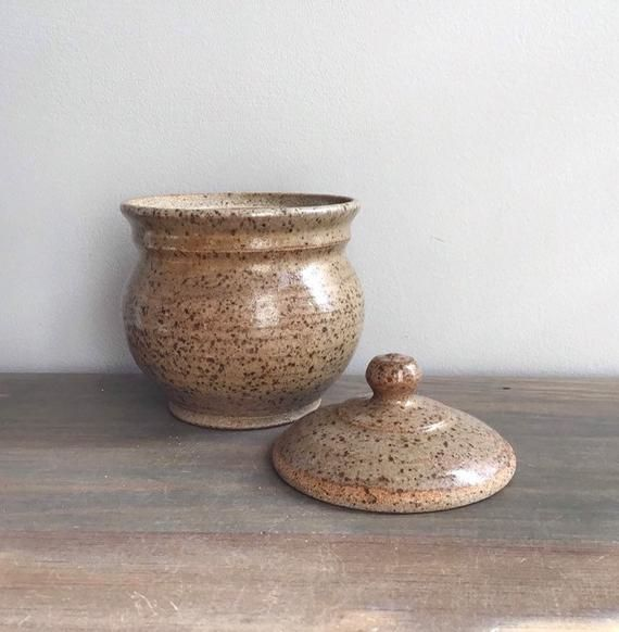 Vintage Ceramic Bowl With Lid Pottery Brown Speckled Jar With