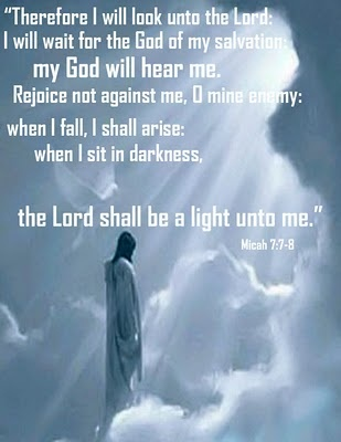 Look, wait, listen...You may have fallen, your enemies might be celebrating, but you will rise, even if things seem dark, the Lord is still your light.  Remain faithful. (H.R.) Micah 7:7-8