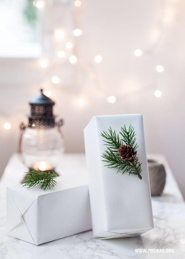 white kraft gift wrapping | greenery