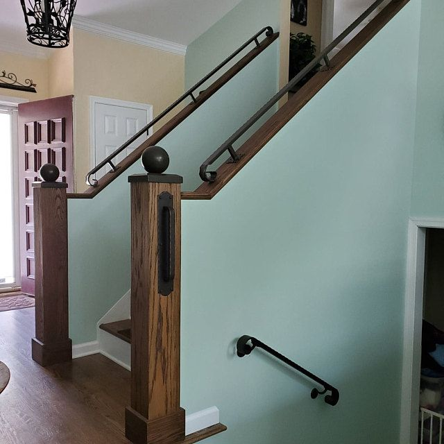 Modern 2x2 Custom Wrought Iron Hand Rail Ada Compliant Return End Wall Mount Handrail Stair Step Railing Made To Order Made In The Usa Wall Mounted Handrail Wrought Iron Handrail Iron