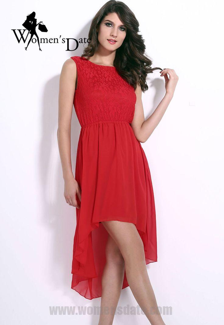 WomensDate New Sundress Women Cool Summer Apparel Red Lace Chiffon Sleeveless Sexy Dress Backless Skater Dress Vestidos De Noite