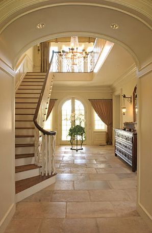 From Elegant Homes Blog. Love this big, clean entry