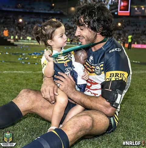Beautiful!! Johnathan Thurston, co-captain of 2015 NRL Premiers North Qld Cowboys shares a precious moment with his daughter after the teams amazing win Sunday 5th October.