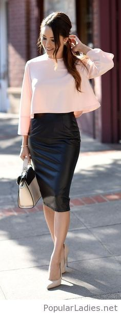 Nude blouse, black leather skirt