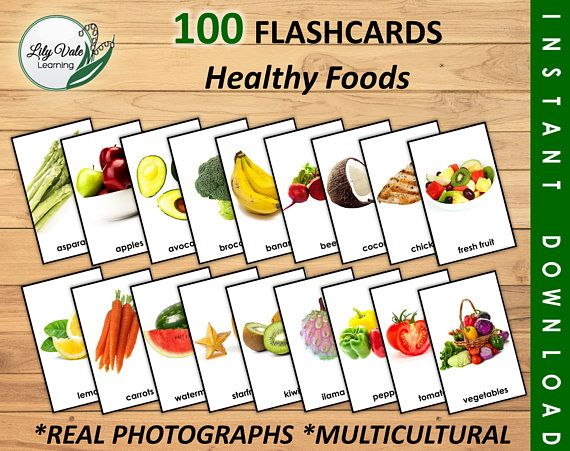 Flash Cards, Educational Flash Cards, Alphabet Flash Cards, Food Word Cards, Picture Word Cards, Printable Food Flashcards, Homeschool