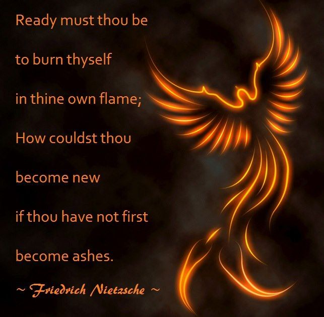 Do not fear the flames, they can be a chance for a new beginning.