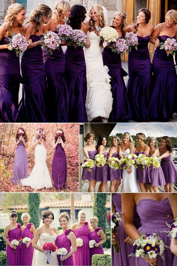 Purple dresses can work for a wedding at any time of the year; fabulous!