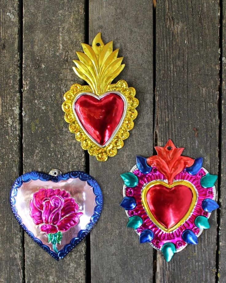 Mexican Tin Milagros Ornaments - SOLD SEPERATELY - Hearts Flames & Rose Folk Art