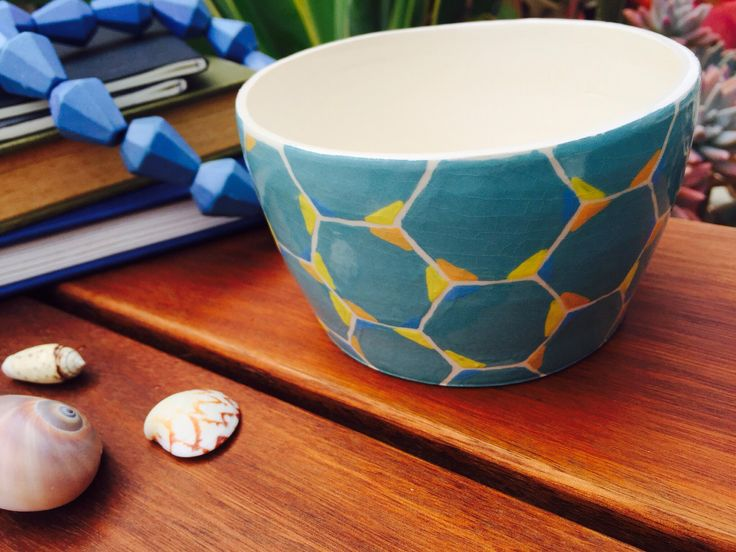 Handmade trinket bowl, hand painted, hexagon print, made by Adele Maggie, available on Etsy