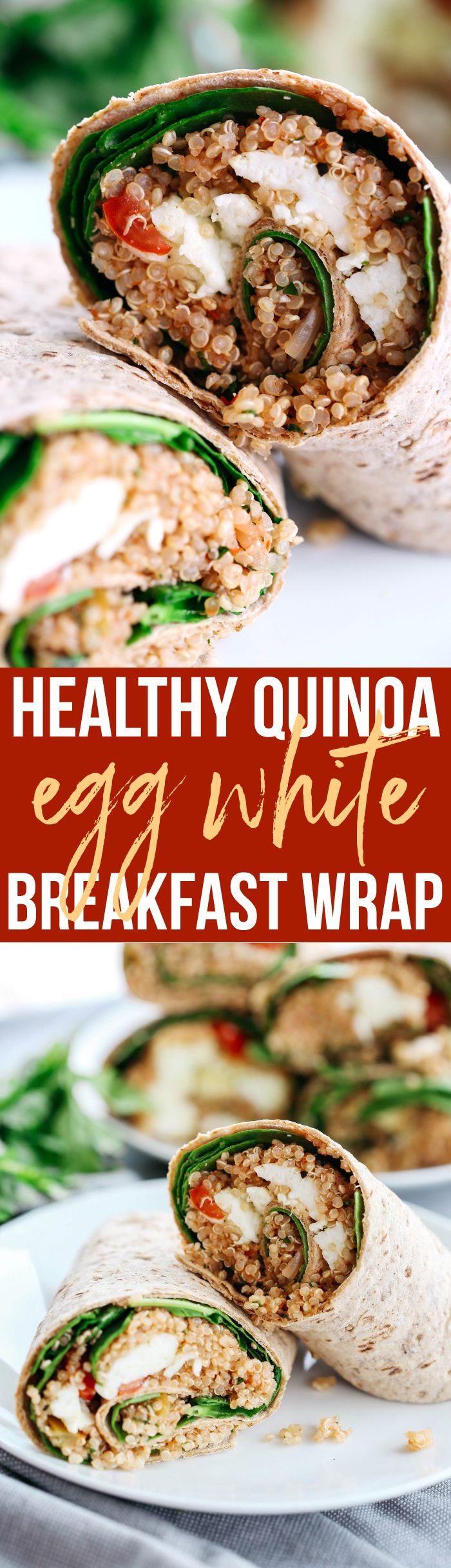 These Quinoa Egg White Wraps are super easy to make, are packed with tons of protein and taste super flavorful! They're also perfect to grab on-the-go!
