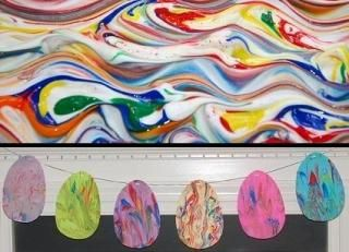 A little shaving cream, paint and paper makes for an easy Easter craft.