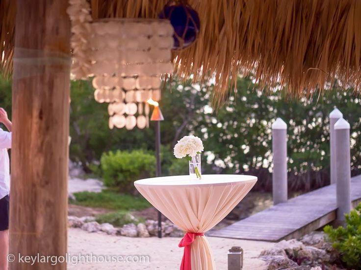 tiki decor at key largo lighthouse beach wedding venue in the florida keys