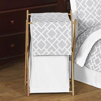 Diamond Gray and White Laundry Hamper