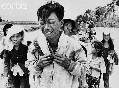 https://flic.kr/p/6N8D9j   U1833088   29 Mar 1975, Van Ninh, South Vietnam --- March 29, 1975 - Van Ninh, South Vietnam: Carrying only a few things on his back, a weeping head of a family leads the way while walking along Highway 1, twenty seven miles north of Nha Trang as they approach this town walking from Qui Nhon. They are part of the Convoy of Tears from the abandoned Central Highlands. An estimated 1.5 million persons are feared trapped in Da Nang, which went under Communist control…