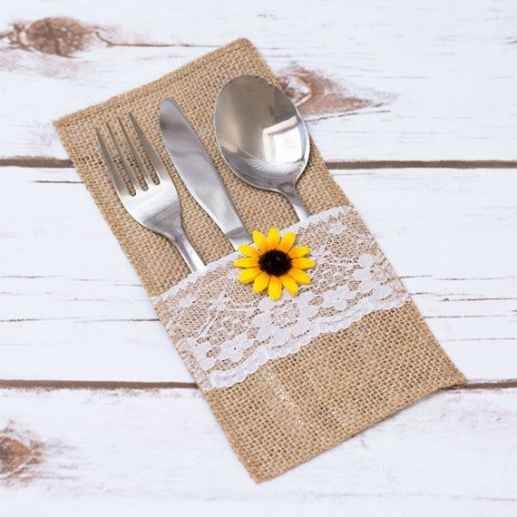 Burlap Silverware Holder Sunflower Rustic Wedding Table Lace