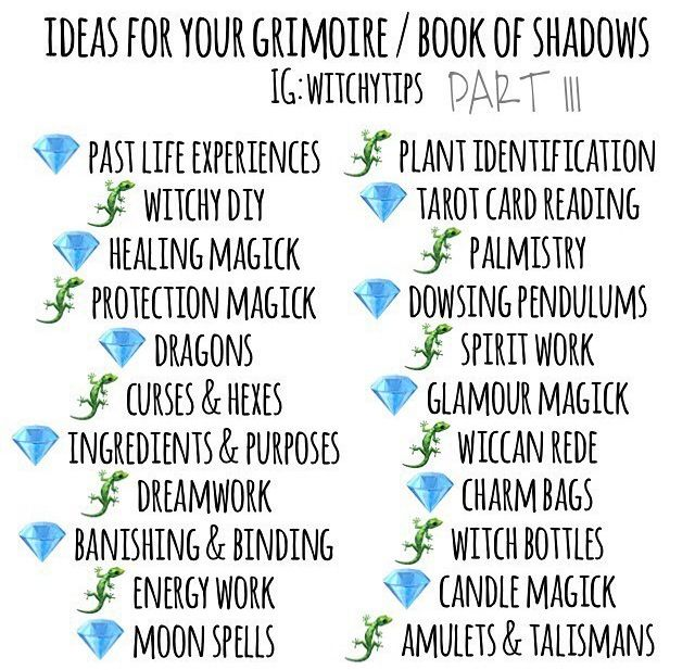 Book of shadows ideas