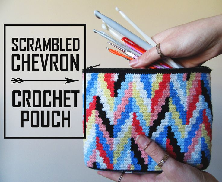 Chevron crochet pattern in Tapestry Crochet style! Modern and colorful crochet bag.