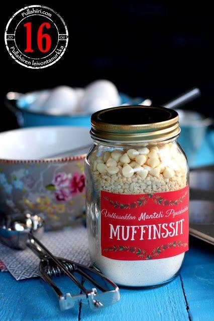 Pullahiiren leivontanurkka: Joulukalenteri - Luukku 16: Muffinssiainekset purkissa sekä jouluiset etiketit