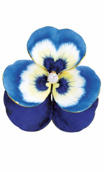 TIFFANY & CO. An Art Nouveau Gold, Enamel, and Diamond 'Pansy' Brooch Designed as a flower, set to the center with a circular-cut diamond, enhanced by blue, white, and yellow enamel, mounted in 18K yellow gold, length 2 inches.  Signed 'Tiffany & Co.