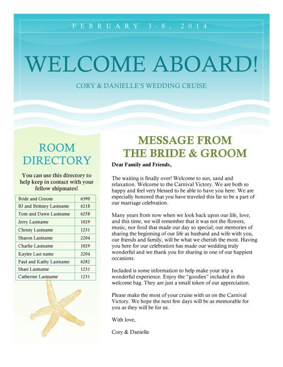 Cruise Wedding Welcome Letter Newsletter by PicturePerfectBooks, $25.00