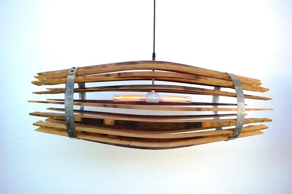 """Wine Barrel CRAFTSMAN Chandelier """"the Catch"""" -100% RECYCLED from Napa Wine Barrels on Etsy, $275.00"""