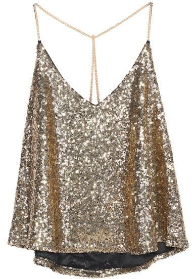 DESCRIPTION Color :Gold Pattern Type :Plain Neckline :Spaghetti Strap Material :Polyester Style :Casual Decoration :Sequined Length(cm) :41cm Size Available :one-size