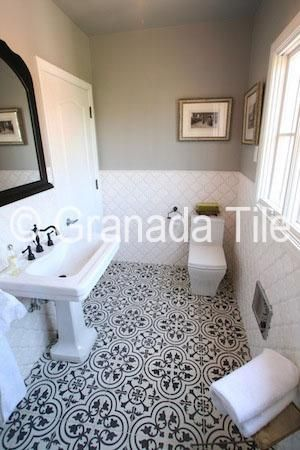 Playing with Contrast Using our Cluny Tile Design-- in white on black, saved to my portfolio.  LOVE for bath