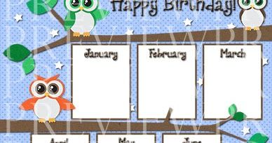 "Can you tell I like owls? This 11"" x 17"" owl birthday chart will look super cute hanging on your classroom wall, bulletin board or poste..."