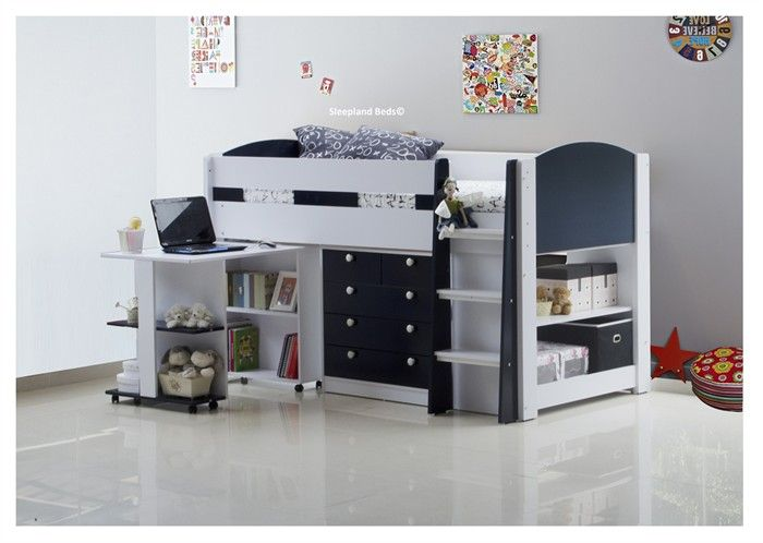 Aqua Navy Blue And White Mayfair Mid Sleeper Bed With Storage And Desk