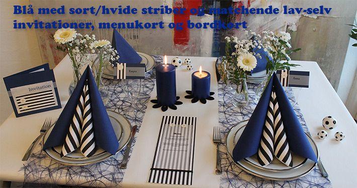 blå borddækning med sort og hvid
